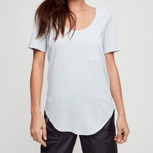 Striped scoop neck t-shirt front pocket size xs